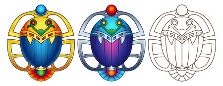Egyptian Scarab Colorful Vector Illustration. Available in 2 color versions  line art can be used for coloring.