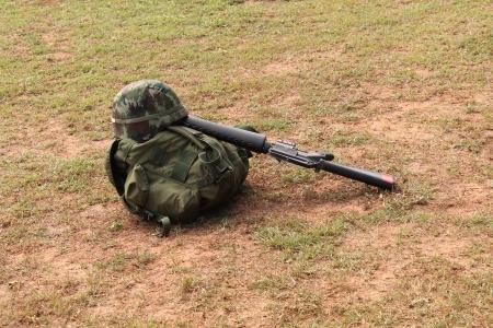 reenactment re enactment: soldier  Stock Photo