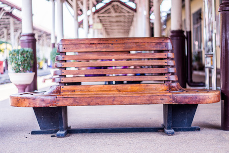 wood chair for Railway station,Chiangmai Thailand photo