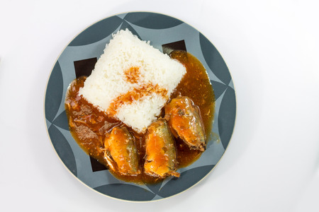 rice, canned fish, Thailand photo