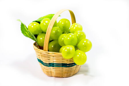 freigestellt: grapes in the basket Stock Photo
