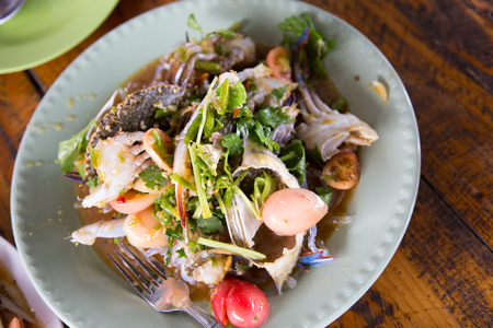 crab with papaya salad Stock Photo