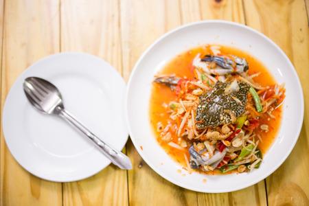 crab in papaya salad Stock Photo