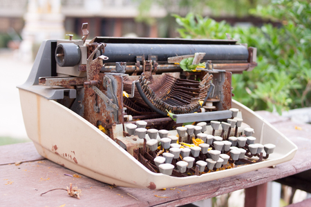 rust typewriter is a old meachine. Stock Photo