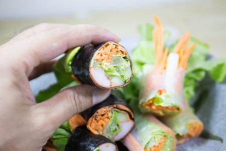 salad row with sea food source