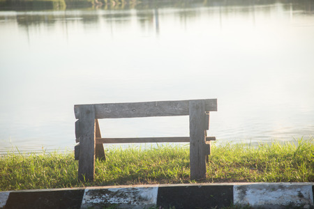 bench at river Stock Photo
