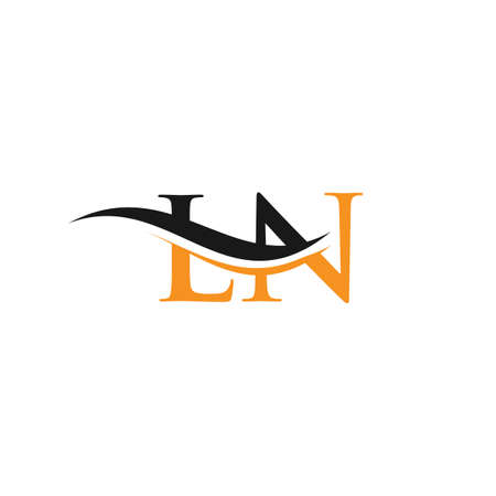 Initial LN letter linked logo vector template. Swoosh letter LN logo design. LN Logo design vector
