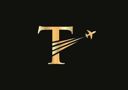 Creative Air Travel Logo Design with T letter. T letter Concept air plane and travel logo.