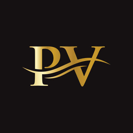 PV logo design. Initial PV letter logo design.