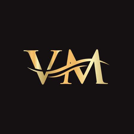Initial VM letter linked logo vector template. Swoosh letter VM logo design. VM Logo design vector Logó