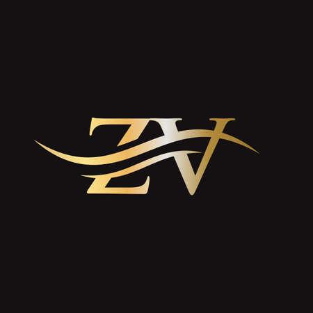 ZV logo design. Initial ZV letter logo design. Logo
