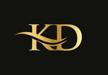 Gold KD letter logo design. KD logo design with creative and modern trendy