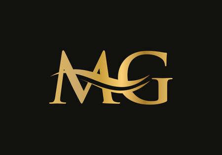 Initial linked letter MG logo design. Modern letter MG logo design vector with modern trendy