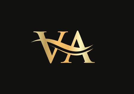 Initial VA letter linked logo vector template. Swoosh letter VA logo design. V A Logo design with modern trendy Logo