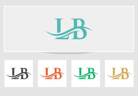 LB logo design. Initial LB letter logo vector. Swoosh letter LB logo design Logo