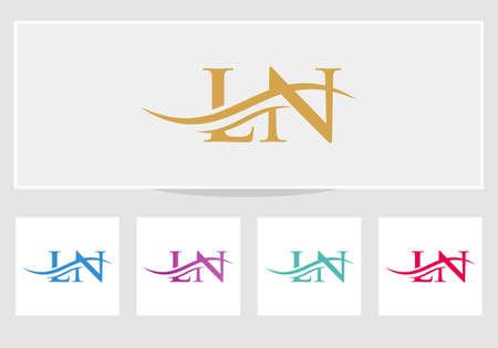 LN logo Design. Premium Letter LN Logo Design with water wave concept