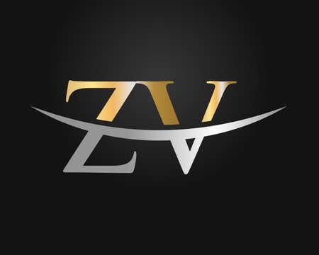 Initial Monogram Letter ZV Logo Design Vector. ZV logo design Logo