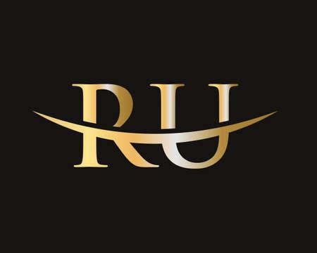 Initial RU letter design vector template Vektoros illusztráció
