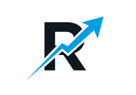 Finance logo with R letter concept. Marketing And Financial Business Logo. R Financial Logo Template with Marketing Growth Arrow