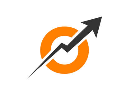 Finance logo with O letter concept. Marketing And Financial Business Logo. O Financial Logo Template with Marketing Growth Arrow Logo