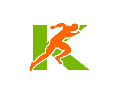 Sport Running Man Front View On Letter K Logo. Running man Silhouette Logo Template For Marathon, template, Running Club Or Sports Club Logo