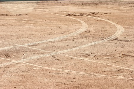 spoor: Wheels printed on clay road