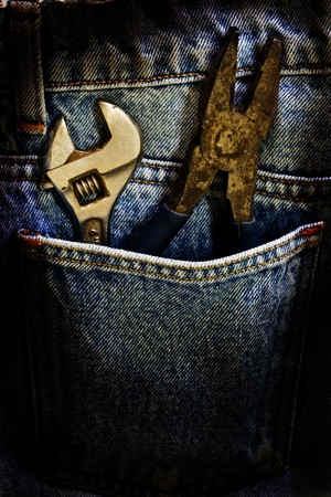 Wrench and fabric jeans Stock Photo - 7930009