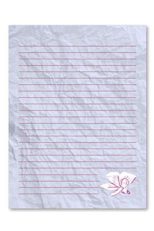 frowzy: Blue letter paper on white background