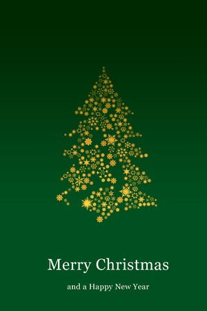 Christmas tree with green background photo