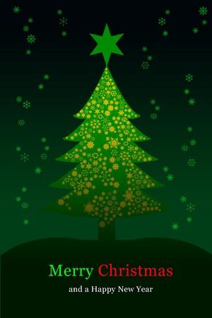Christmas tree, greeting card Standard-Bild