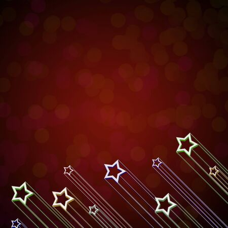 Rising star on red color background
