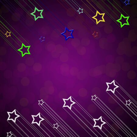 Moving star on purple color background photo