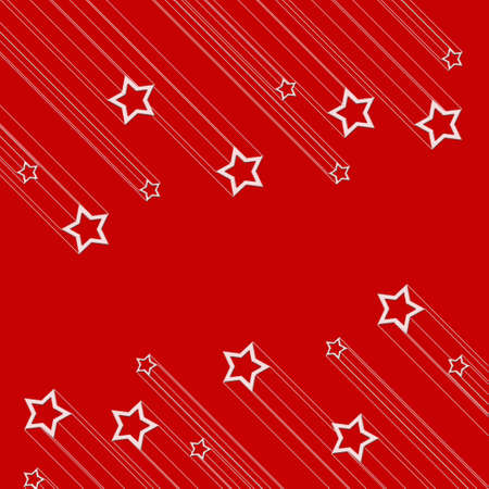 Moving star on red color background photo