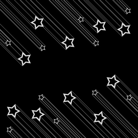 Moving star on black color background photo