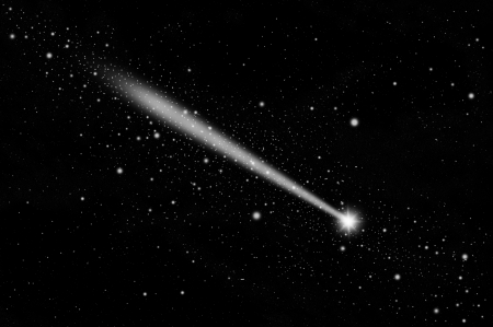 White meteor in the sky