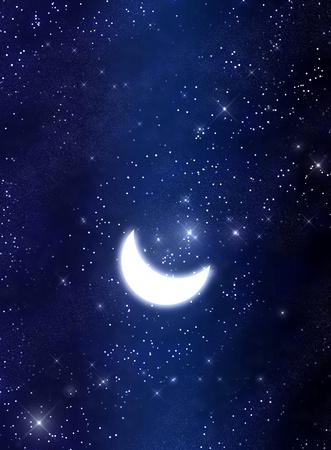 Moon and stars  Standard-Bild