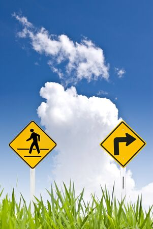 A man walking sign with turn right sign Stock Photo - 8418242