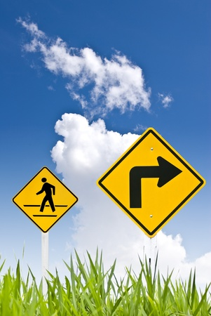 A man walking sign with turn right sign Stock Photo - 8418246