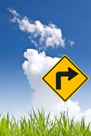 Turn right sign with blue sky Stock Photo - 8418272