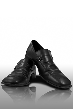 leatherette: Shoes on reflected floor  Stock Photo