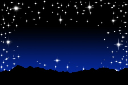 Stars in the sky with hill background