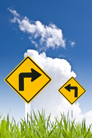 Traffic sign with blue sky  photo