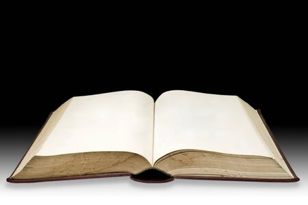 Old book with blank page with dark background