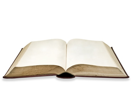 Blank page on the old book , Isolated