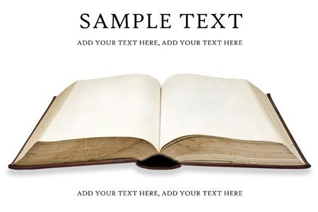 bible ouverte: Vieux livre avec page vierge Banque d'images