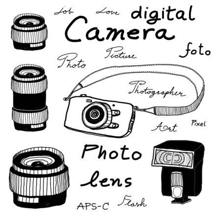 Digital camera sketch on white background photo