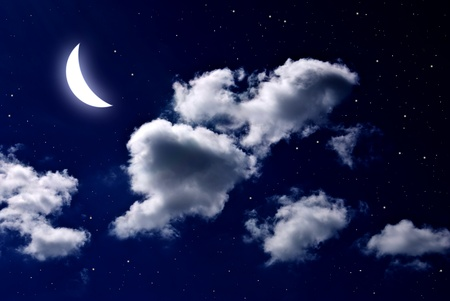 noche estrellada: Luna y estrella con la nube en el cielo nocturno