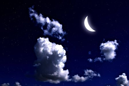 Moon and star in the night sky  Stock Photo - 9116729
