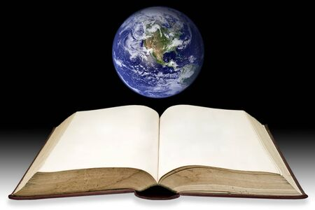 bible open: Old book with the earth, (Clouds&Topography maps come from httpvisibleearth.nasa.gov) Stock Photo