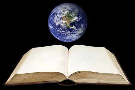 world class: Old book with the earth on black background (Clouds&Topography maps come from httpvisibleearth.nasa.gov)